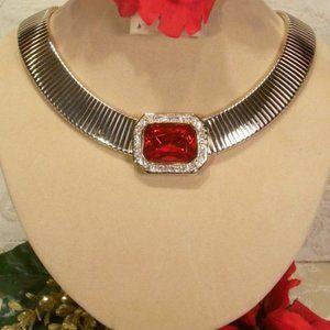 R-940  Orange-Red Rhinestone Golden Flex Necklace